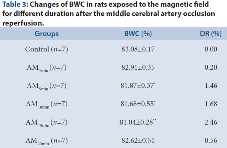 Table 3: Changes of BWC in rats exposed to the magnetic field for different duration after the middle cerebral artery occlusion reperfusion