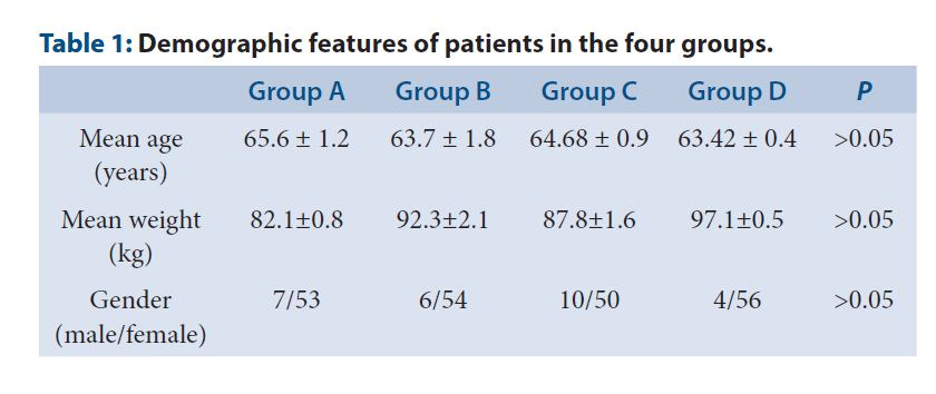 Demographic features of patients in the four groups